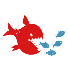 Big evil fish pursues small fishes vector