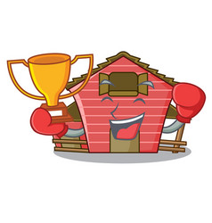 Boxing winner red storage barn isolated on mascot vector