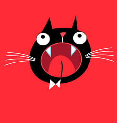 Bright portrait a screaming cat vector