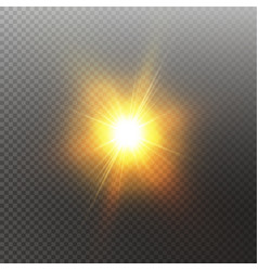 bright shining sun isolated on black background vector image