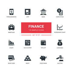 business and finance - line design icons set vector image