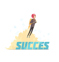 Business startup success symbolic poster vector