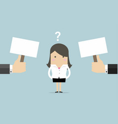 businesswoman confused about two choices vector image