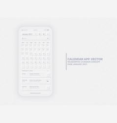 Calendar app january 2021 ui ux neumorphic design vector