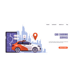 car sharing landing page website interface with vector image