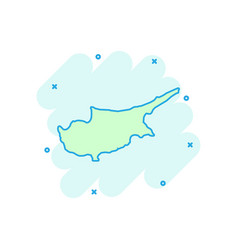 cartoon cyprus map icon in comic style cyprus vector image