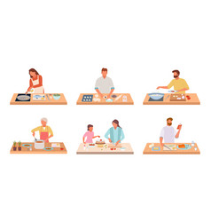 characters cook food set people on kitchen table vector image