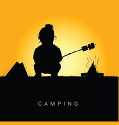child camping in nature silhouette color vector image