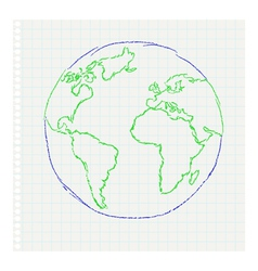 Childs drawing of the planet Earth on a notepad le vector image