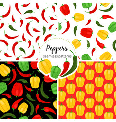 chilli and bell pepper patterns vector image