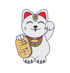 Chinese lucky cat icon vector