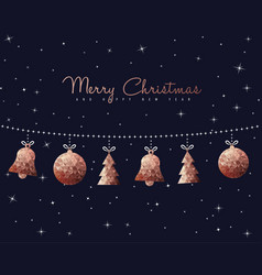 Christmas and new year copper decoration ornaments vector