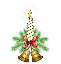 Christmas decoration with a candle vector