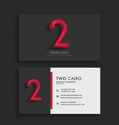 Clean dark business card with number 2 vector