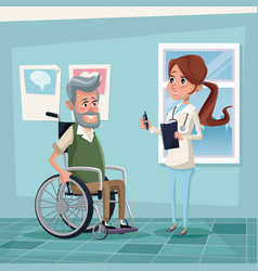 Color background hospital room with elderly man in vector