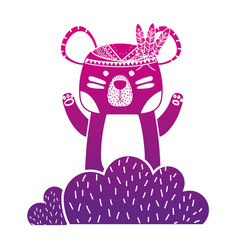 Color silhouette ethnic bear animal in back of vector