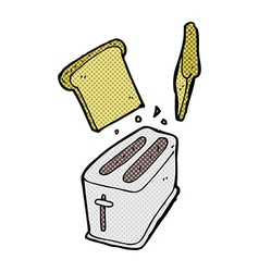 Comic cartoon toaster spitting out bread vector
