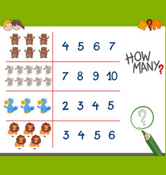 Counting game with animals vector