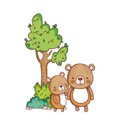 cute animals little bears tree nature cartoon vector image
