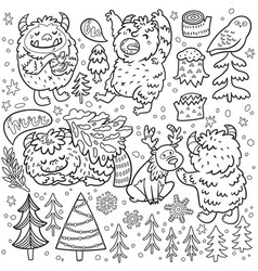 cute cartoon style yetis and woodland elements in vector image