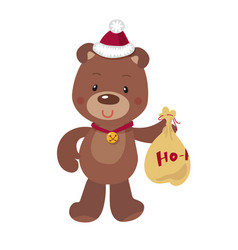 cute christmas bear on white vector image