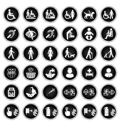 Disability people and medical Icon collection vector