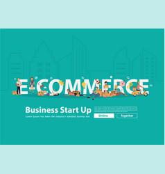 e-commerce idea concept people selling products vector image