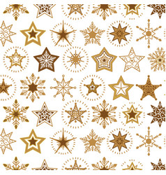 elegant a flat golden snowflakes seamless pattern vector image