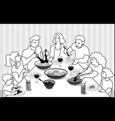 family feast vector image