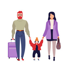 family in airport man woman and child vector image