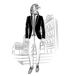 fashion eagle portrait on city background vector image