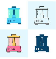 food processor icon set in flat and line styles vector image