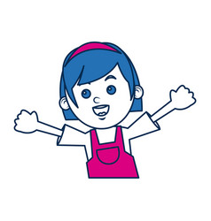 Girl character schoolkid cheerful in blue and vector