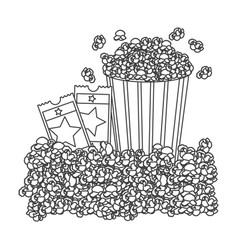 Grayscale contour with popcorn container and movie vector