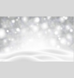 Grey blurred poster with winter landscape and snow vector