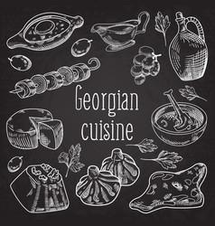 Hand drawn georgian food on chalkboard vector