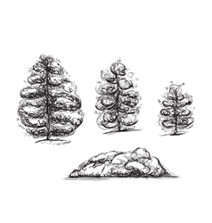Hand drawn trees and stone sketch vector