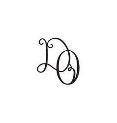 handwritten monogram do icon vector image