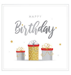 happy birthday greeting card with gift box vector image