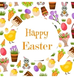Happy Easter Background Flat Icons Spring vector