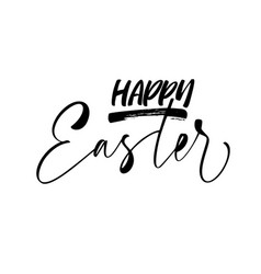 happy easter card modern brush calligraphy vector image