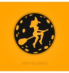 Happy halloween concept with moon and witch on a vector image