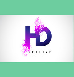 Hd h d purple letter logo design with liquid vector