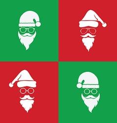 image of santa hats and beards and eyeglasses vector image