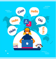 Internet translation communication service concept vector