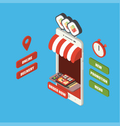 isometric online sushi delivery smartphone vector image
