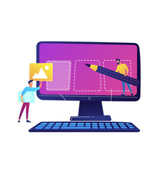 It specialists team creating webpage on computer vector