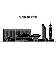 Japan fukuoka architecture city skyline vector