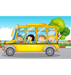 Kids riding on school bus vector image