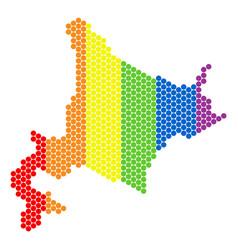 Lgbt spectrum pixel hokkaido island map vector